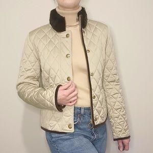 Coach Quilted Jacket Tan Brown Rabbit Fur Collar
